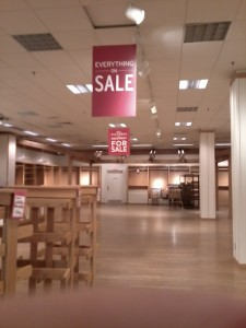 Eddie Bauer store closing, Rockford, IL.  Jan. 20, 2013.  Photo by author.